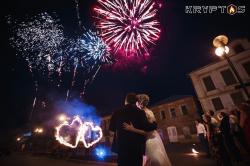Салют и огненные сердца на свадьбу в банкетном зале Монет-Карло (Иваново)